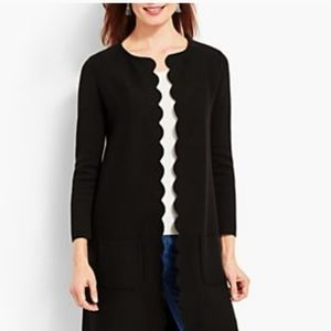 Talbots Black Scallop Long Open Front Cardigan S